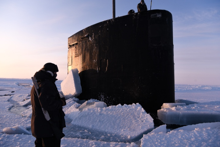 USS Hartford (SSN 768) Surfaces through Arctic Ice