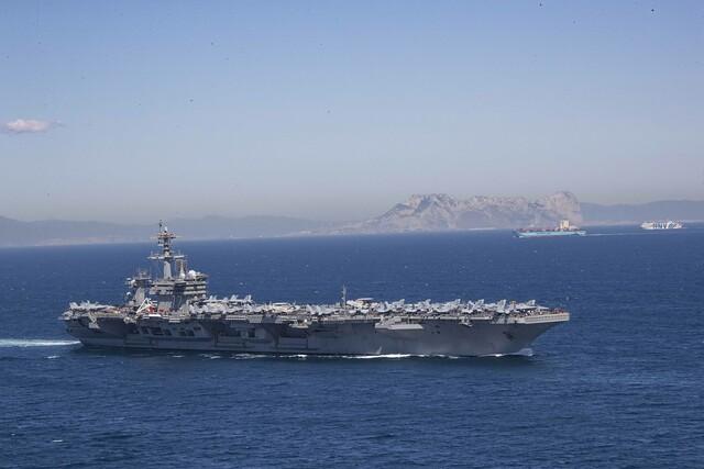 USS Abraham Lincoln (CVN 72) transits the Strait of Gibraltar.