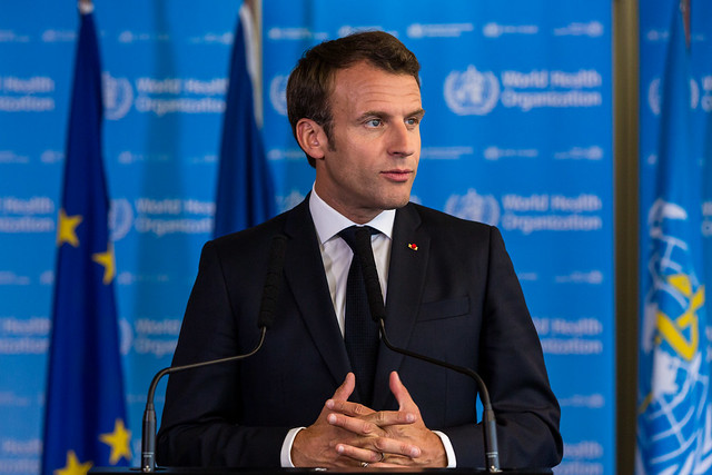 French President Emmanuel Macron visits WHO Headquarters in Geneva, 11 June 2019