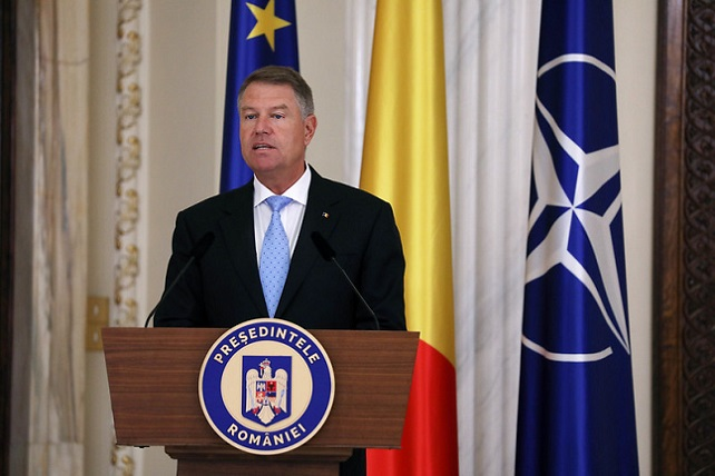 Klaus Iohannis, the President of Romania, holding a press confer