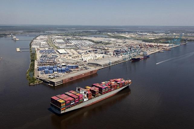 Aerial view of Jaxport port of Jacksonville Florida photograph taken Sept 2019